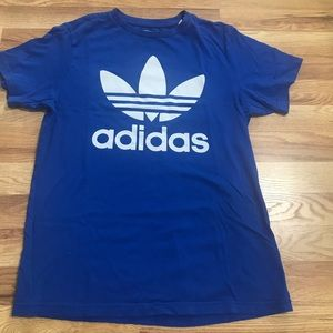 Blue Adidas trefoil shirt